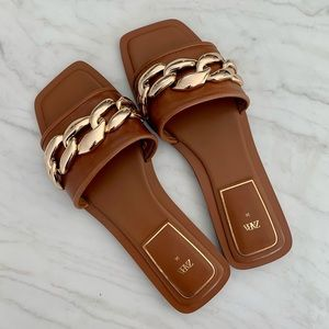 Zara Flat Leather Sandal with Chain